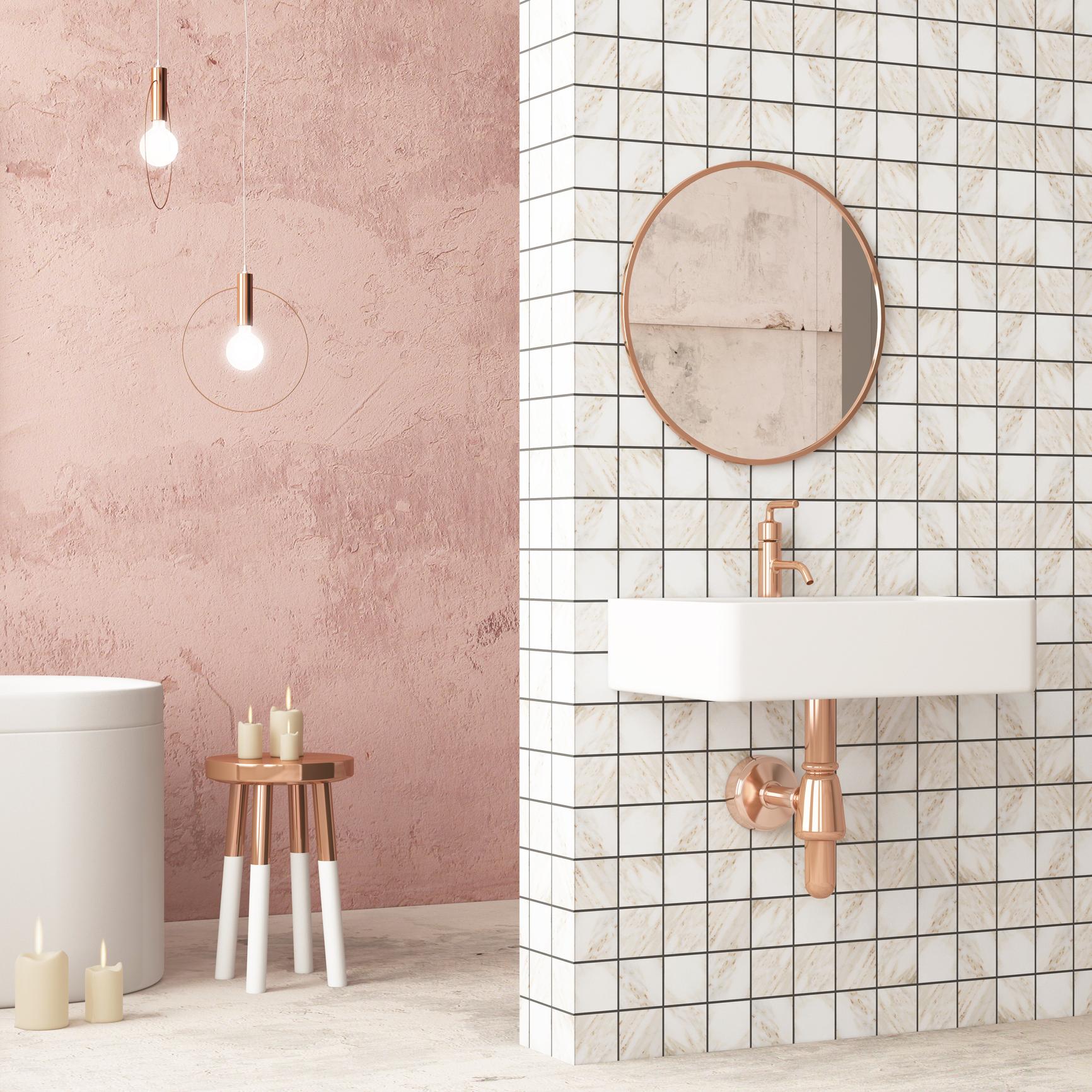 łazienka urządzona na biało i różowo